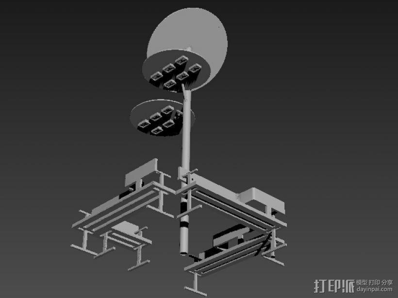 路灯和座椅 3D模型  图1