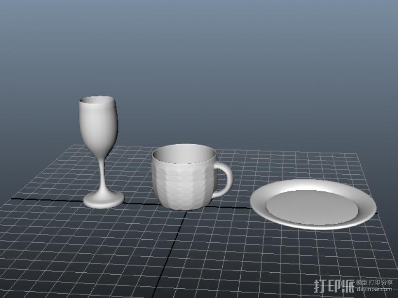 杯子盘子 3D模型  图1