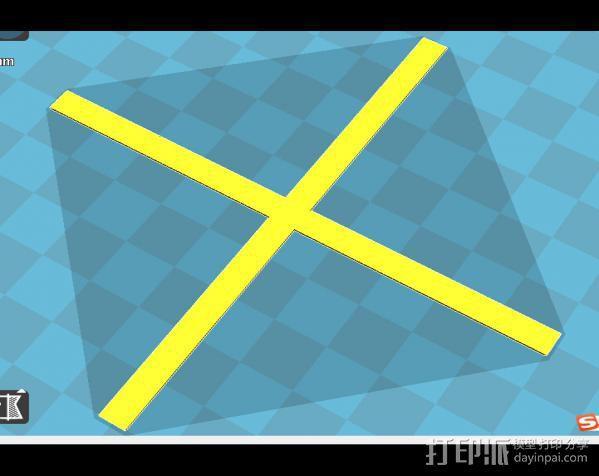 三角洲调平用十字架 3D模型  图1