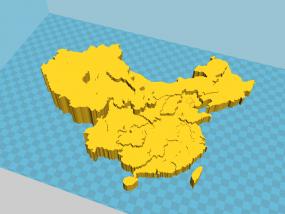 中国3D地图(精细,地势高低) 3D模型