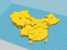 中国3D地图(精细,地势高低) 3D模型 图1