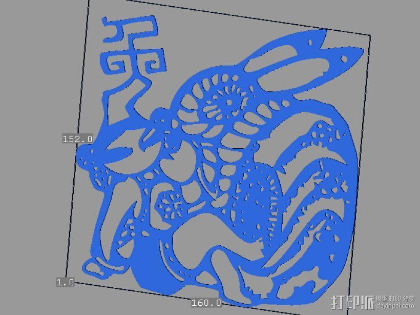 立体剪纸_十二生肖_兔 3D模型  图1