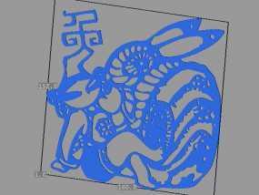 立体剪纸_十二生肖_兔 3D模型