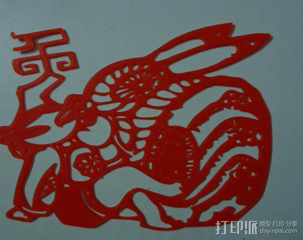 立体剪纸_十二生肖_兔 3D模型  图2