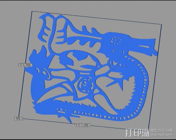立体剪纸_十二生肖_龙 3D模型  图1