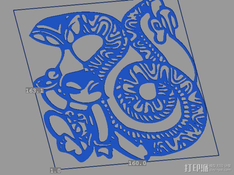 立体剪纸_十二生肖_蛇 3D模型  图1