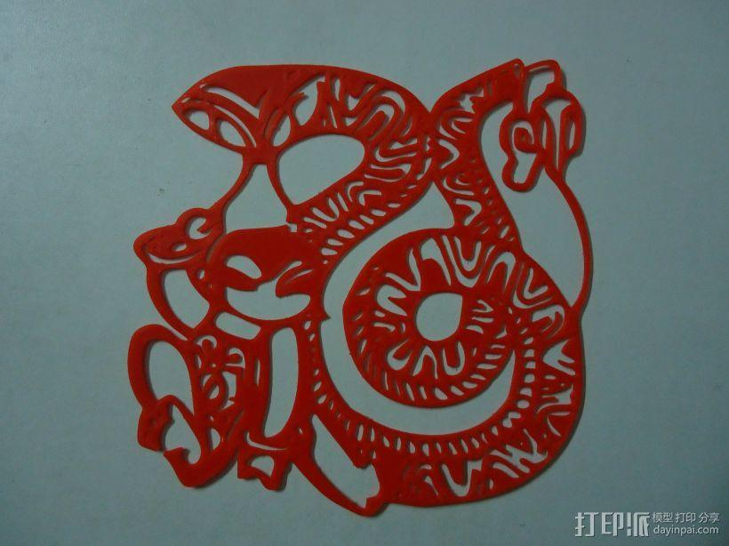 立体剪纸_十二生肖_蛇 3D模型  图2