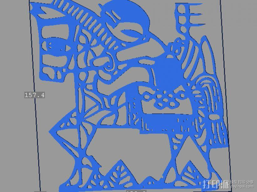 立体剪纸 十二生肖 马 3D模型  图1