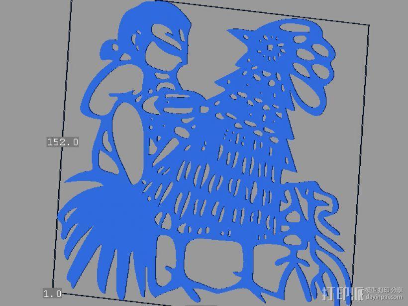 立体剪纸_十二生肖_鸡 3D模型  图1