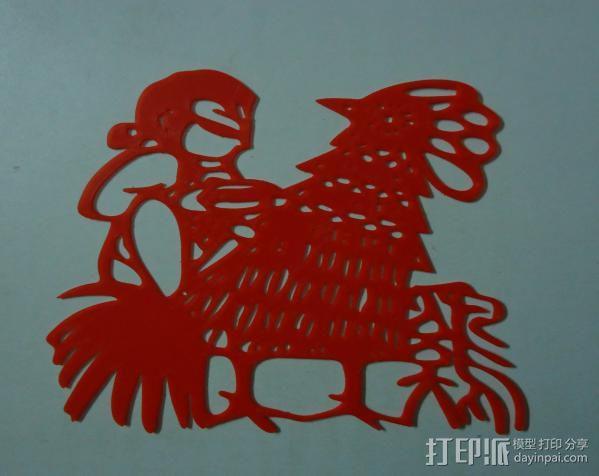 立体剪纸_十二生肖_鸡 3D模型  图2