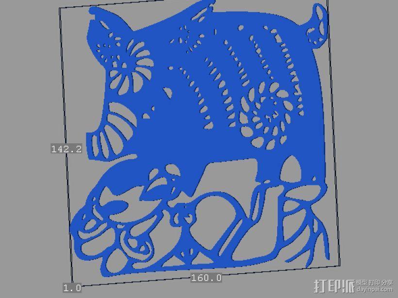立体剪纸_十二生肖_猪 3D模型  图1