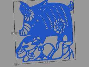 立体剪纸_十二生肖_猪 3D模型