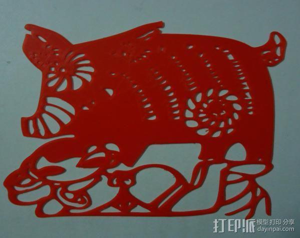 立体剪纸_十二生肖_猪 3D模型  图2