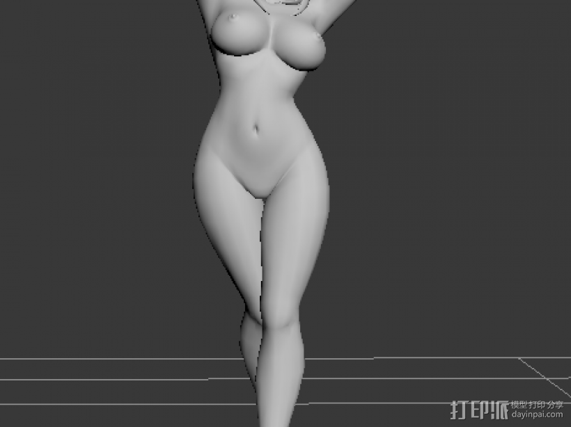 裸体卡通MM 3D模型  图1