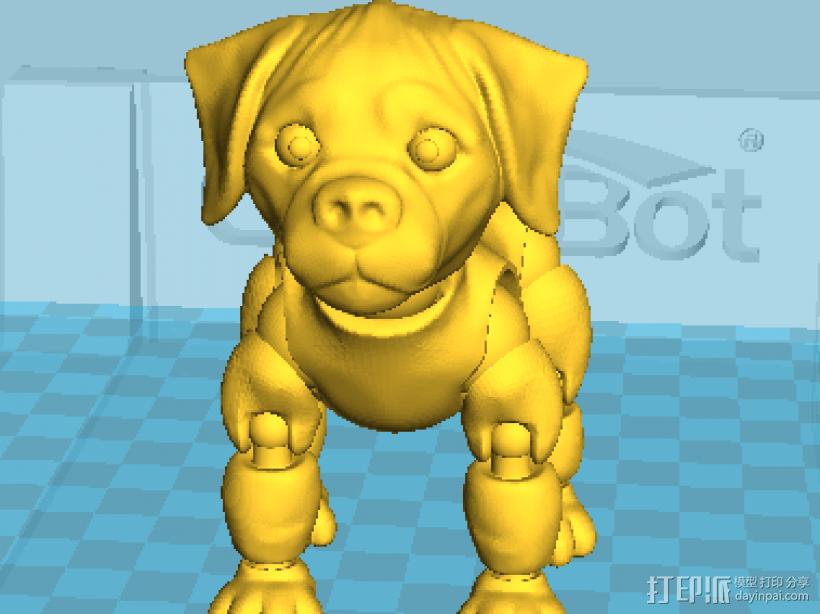 拼接狗狗(可活动)14件拆件 3D模型  图1