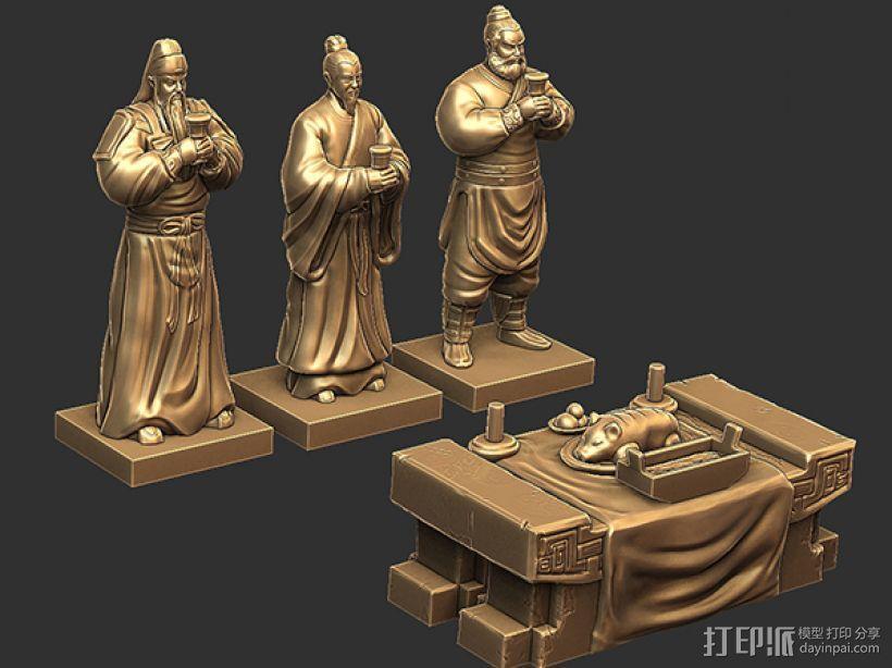 三国演义桃园结义——结拜祭台 3D模型  图5