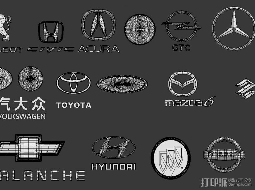 汽车标志 3D模型  图1