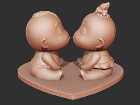 亲嘴娃娃 3D模型