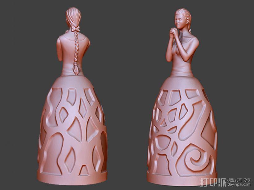 祈祷的少女——灯罩 3D模型  图1