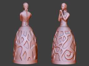 祈祷的少女——灯罩 3D模型