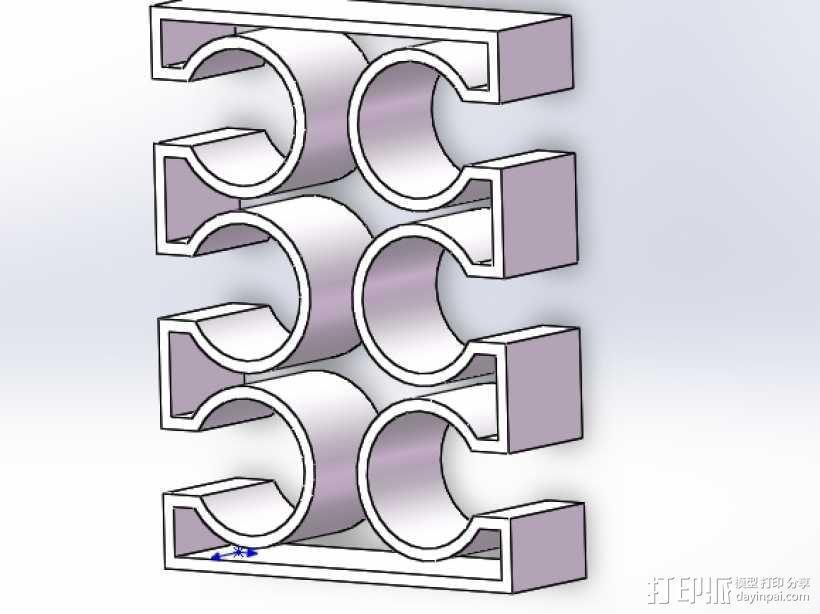 烟花火箭支架 6连装 3D模型  图1
