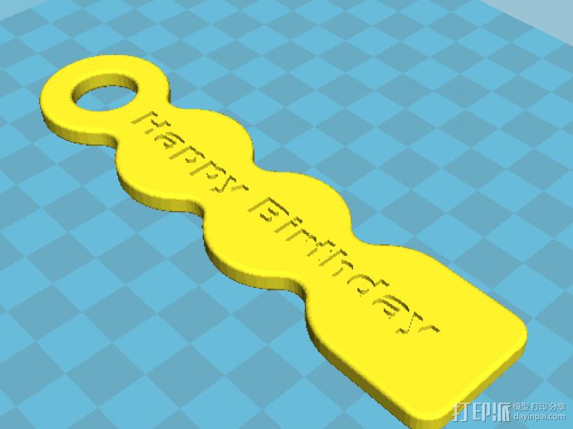 Happy Birthday 标示牌 3D模型  图2