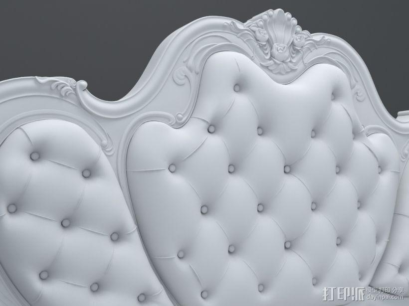 精品欧式雕花床模型 3D模型  图1