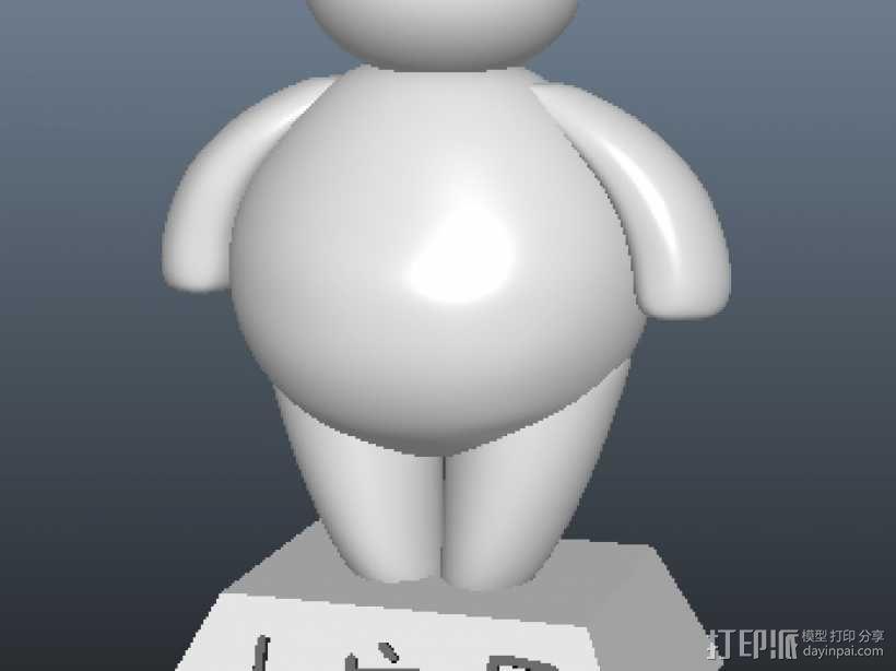 卖萌的萌大白萌小白(底座文字可改),留念! 3D模型  图1