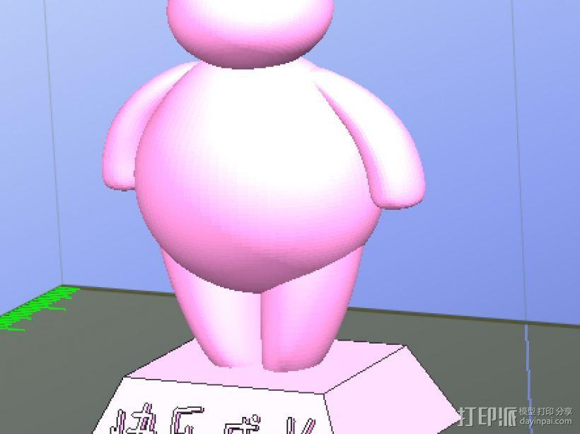 卖萌的萌大白萌小白(底座文字可改),留念! 3D模型  图4