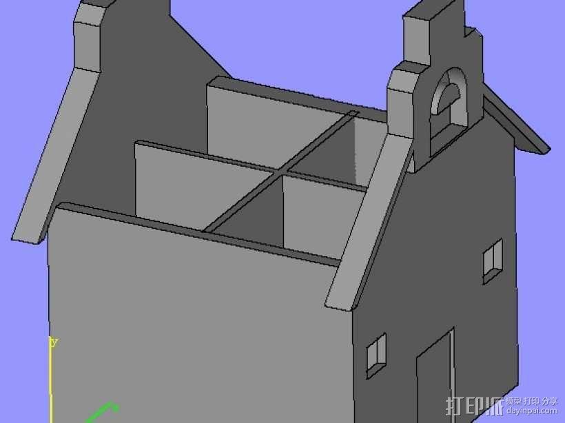 房子笔筒,,建筑模型  3D模型  图1