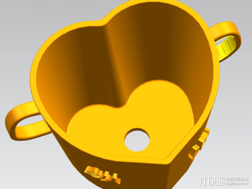 桃心浪漫花盆,盆栽 3D模型  图2