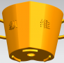 桃心浪漫花盆,盆栽 3D模型 图1