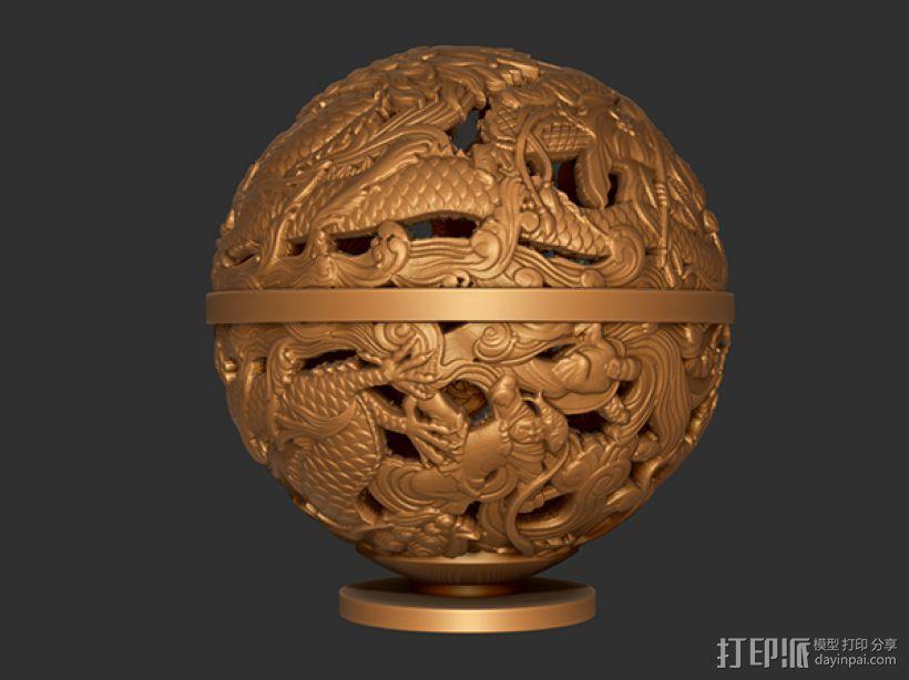 镂空浮雕球——桌面装饰 3D模型  图1