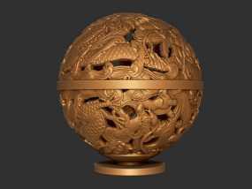 镂空浮雕球——桌面装饰 3D模型