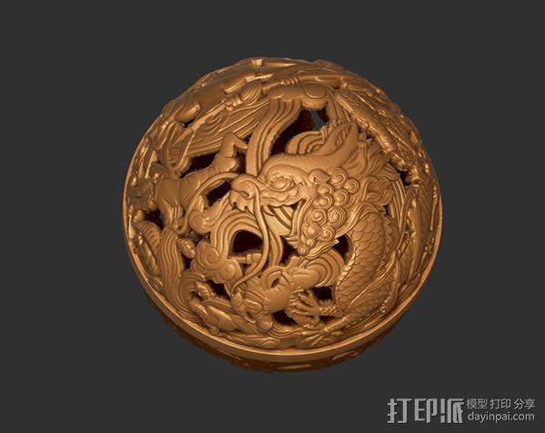 镂空浮雕球——桌面装饰 3D模型  图2