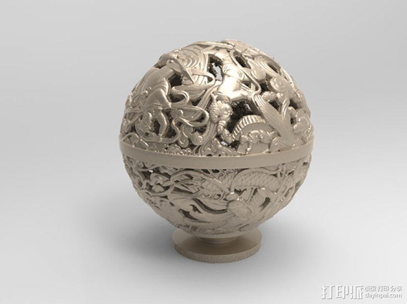 镂空浮雕球——桌面装饰 3D模型  图3