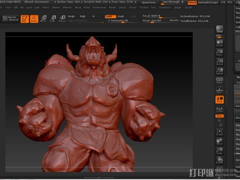 肌肉牛头战士 3D模型  图1