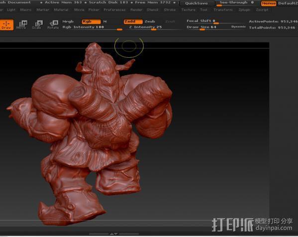 肌肉牛头战士 3D模型  图2
