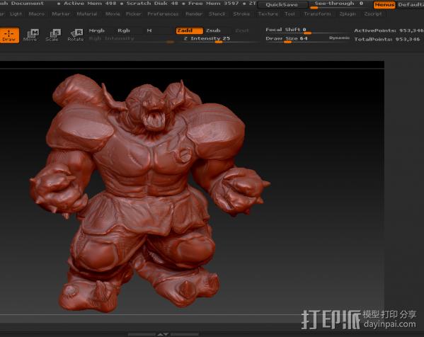 肌肉牛头战士 3D模型  图3