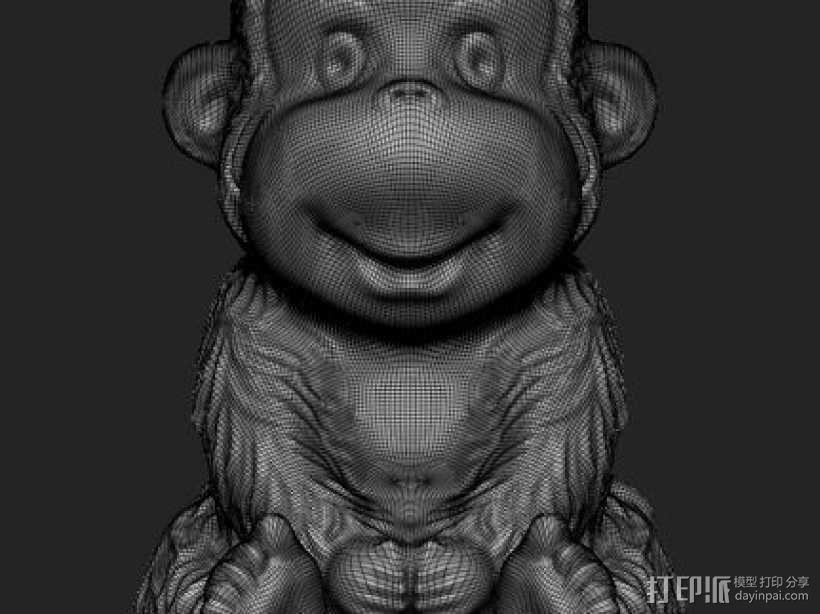 ZB精雕 茶宠 四不猴一  不动猴 obj格式 3D模型  图4