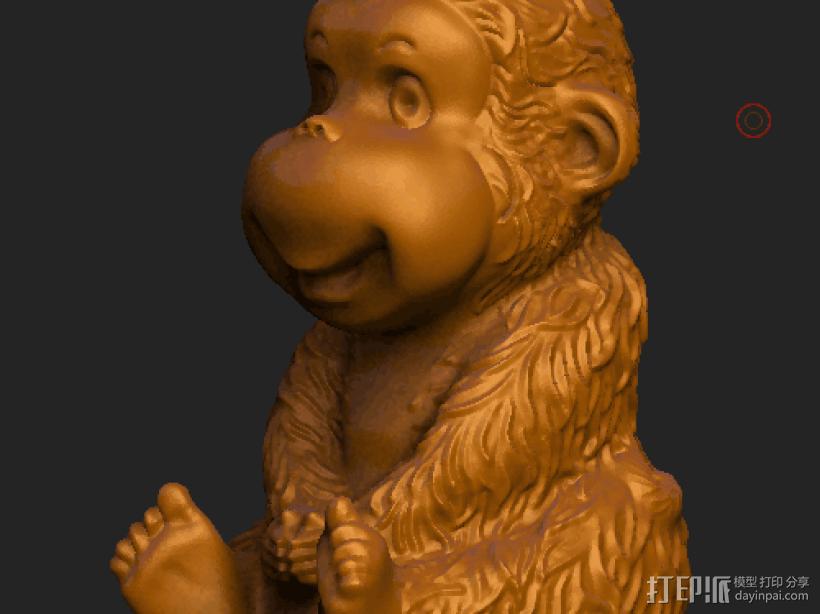 ZB精雕 茶宠 四不猴一  不动猴 obj格式 3D模型  图3