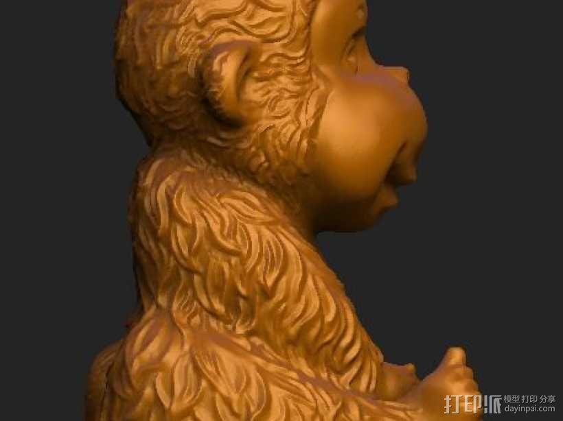 ZB精雕 茶宠 四不猴一  不动猴 obj格式 3D模型  图2