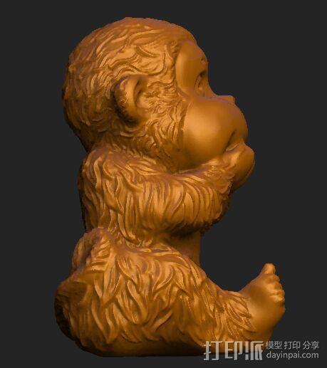 ZB精雕 茶宠 四不猴二  不说猴 obj格式 3D模型  图2