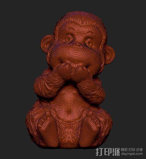 ZB精雕 茶宠 四不猴二  不说猴 obj格式 3D模型  图4