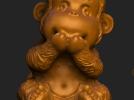 ZB精雕 茶宠 四不猴二  不说猴 obj格式 3D模型 图1