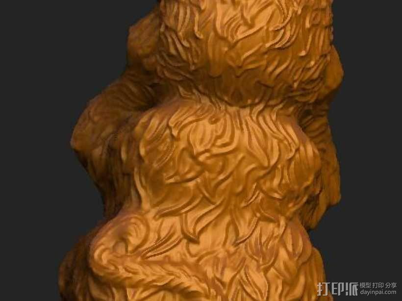ZB精雕 茶宠 四不猴一三 不听猴 obj格式 3D模型  图3