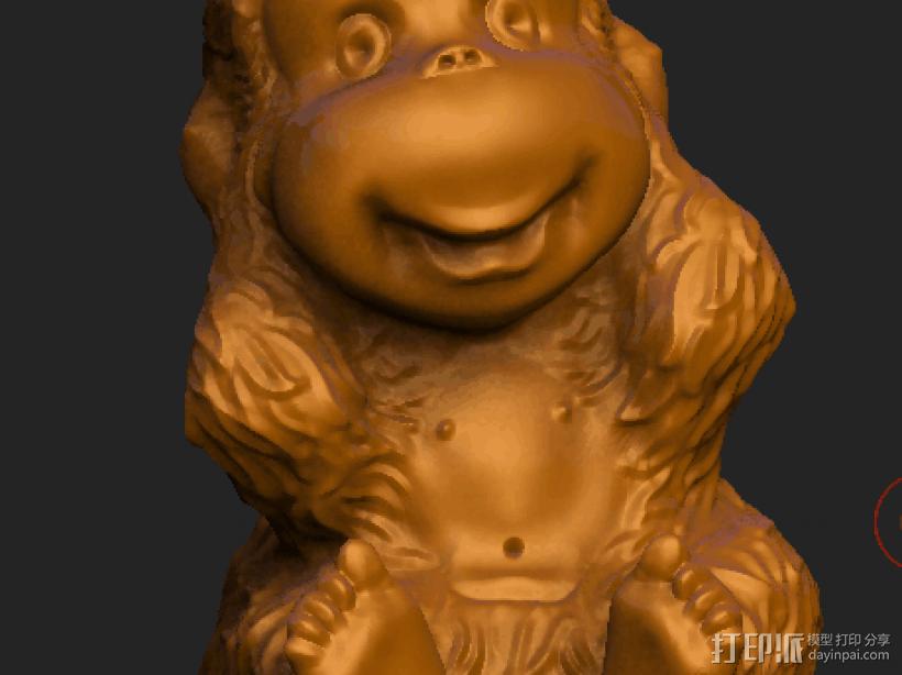 ZB精雕 茶宠 四不猴一三 不听猴 obj格式 3D模型  图1