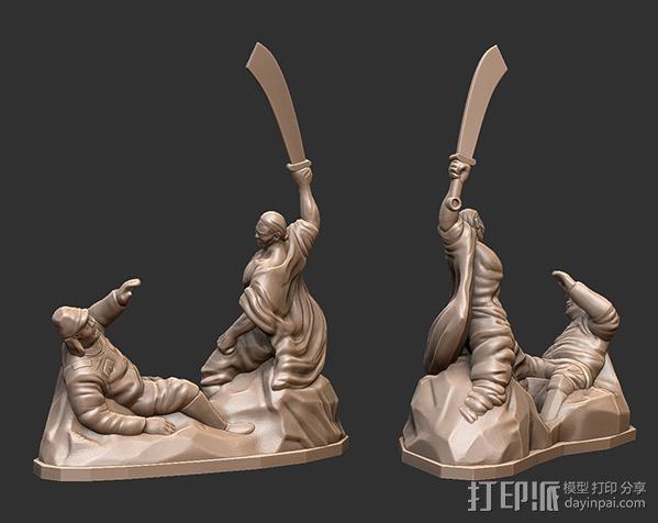 抗战胜利70周年纪念——大刀向鬼子头上砍去 3D模型  图2
