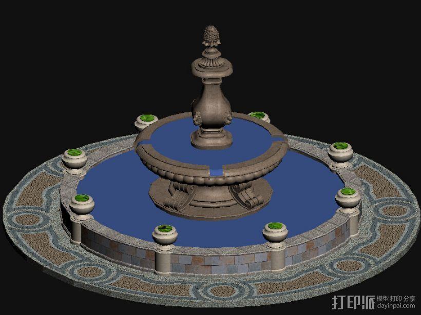 欧式 叠水  3D模型  图1