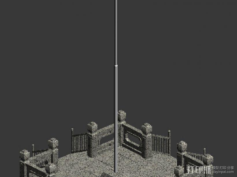 国旗 旗台 3D模型  图1